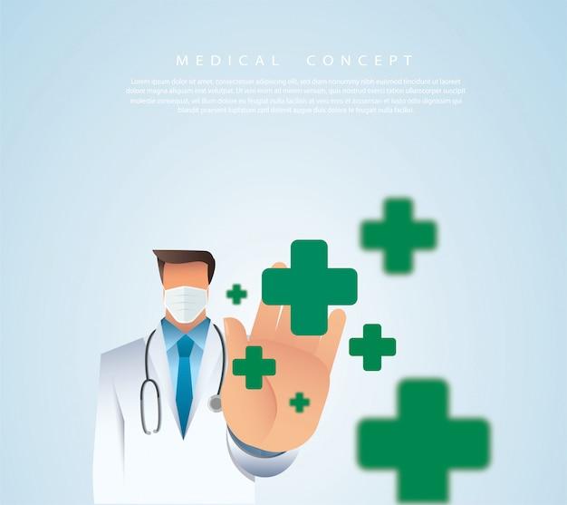 Conceito de medicina com médico