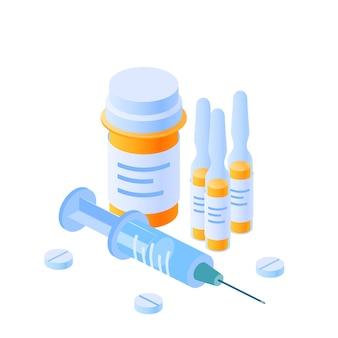 Conceito de medicina. frasco de medicamento amarelo, frascos, seringa e pílulas em vista isométrica em fundo branco