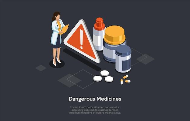 Conceito de medicina perigosa perigosa. o médico verifica a lista de um grupo de pílulas e cápsulas de medicamentos prescritos em forma de risco de farmácia