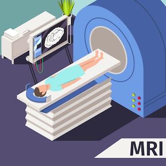 Conceito de medicina ressonância magnética e diagnóstico paciente deitado máquina de scanner no hospital