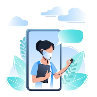 Conceito de médico, consulta e medicina on-line. ilustração vetorial