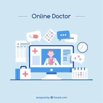 Conceito de médico on-line azul
