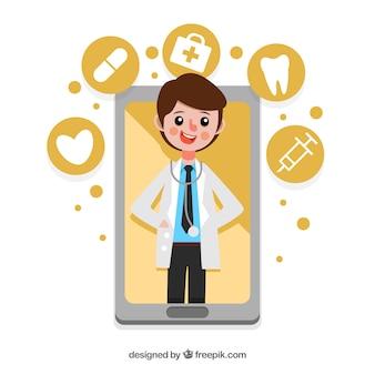 Conceito de médico on-line com smartphone com ícones amarelos
