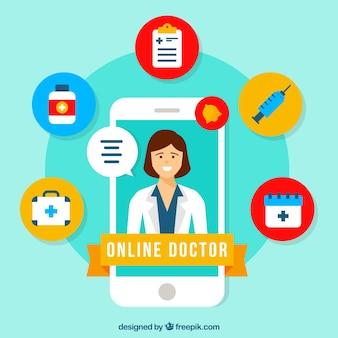 Conceito de médico on-line com smartphone e ícones