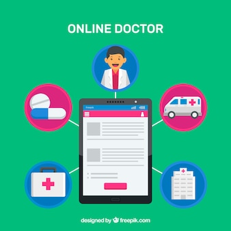 Conceito de médico on-line com tablet