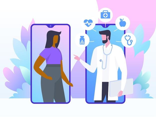 Conceito de médico online. consulta do paciente ao médico via smartphone. Vetor Premium