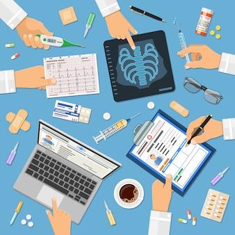 Conceito de médicos no local de trabalho