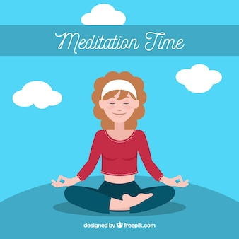 Conceito de meditação com a empresária