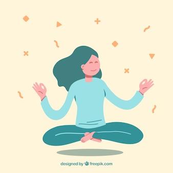 Conceito de meditação com caráter desenhado de mão