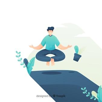 Conceito de meditação com homem e objetos levitando