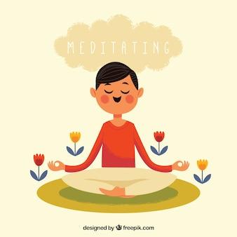 Conceito de meditação com homem feliz