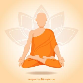 Conceito De Meditacao Com Monge Budista Vetor Gratis