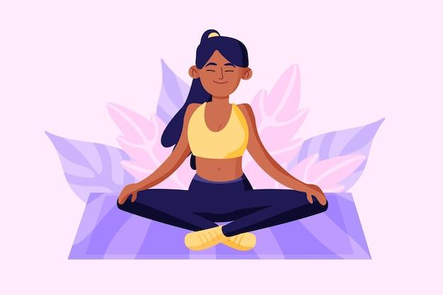 Conceito de meditação com mulher