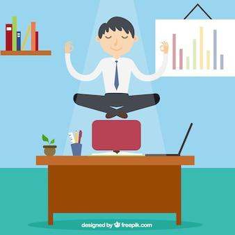 Conceito de meditação com o empresário