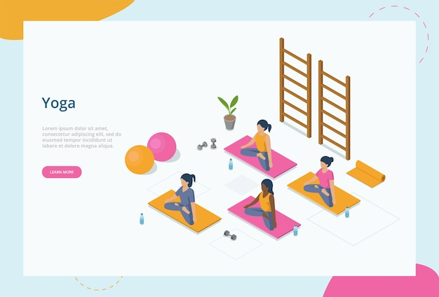 Conceito de meditação, ioga e saúde. um grupo de mulheres jovens senta-se em posição de lótus, meditando sobre as esteiras na aula de ioga, cercada por várias coisas de ioga.