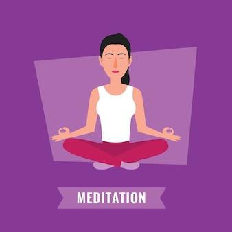 Conceito de meditação. mulher meditando, em, loto, pose