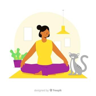 Conceito de meditação para a página de destino