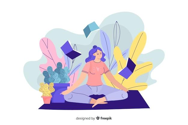Conceito de meditação para landing page