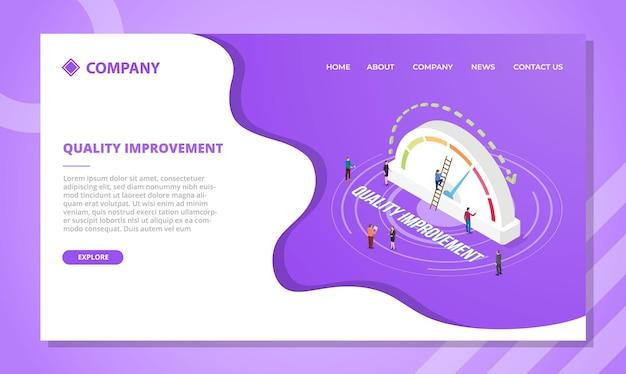 Conceito de melhoria de qualidade para modelo de site ou design de página inicial com ilustração vetorial de estilo isométrico