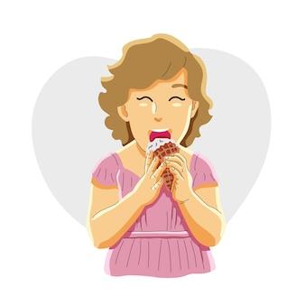 Conceito de menina comendo sorvete Vetor Premium