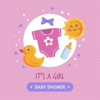 Conceito de menina de chuveiro de bebê