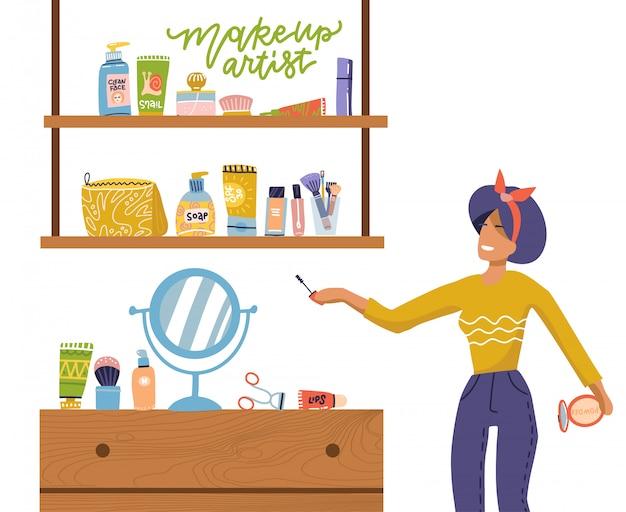 Conceito de menina e maquiagem conjunto, mulher fica perto de prateleiras com cosméticos para rosto cuidados em casa. ilustração, estilo cartoon plana sobre fundo branco isolado. letras de maquiador de citação.