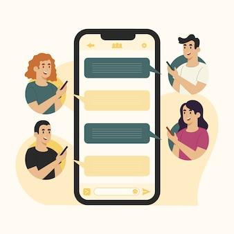 Conceito de mensagens de bate-papo em grupo móvel