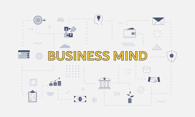 Conceito de mente de negócios com conjunto de ícones com uma palavra grande ou texto no centro