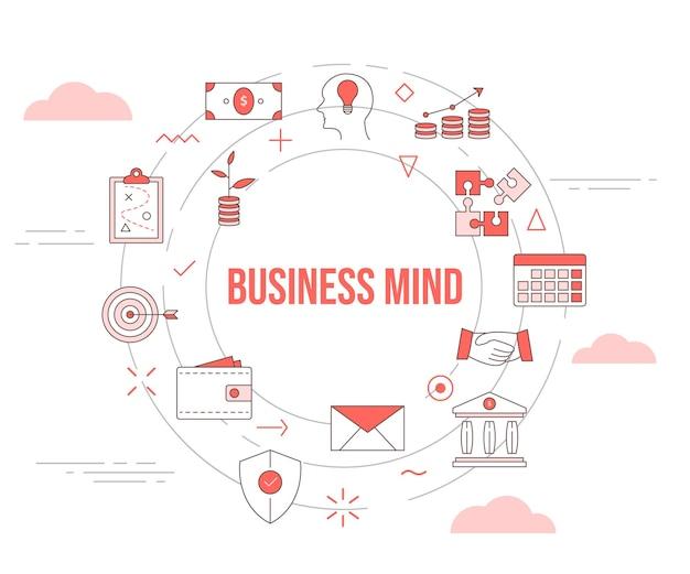 Conceito de mente de negócios com conjunto de ícones de banner de modelo e vetor de forma redonda de círculo