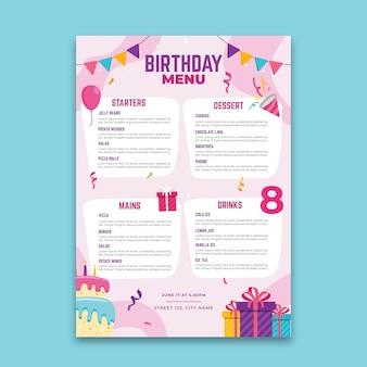 Conceito de menu de aniversário