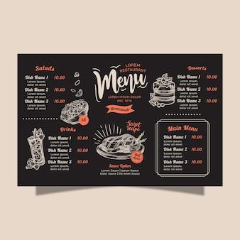 Conceito de menu de restaurante caseiro