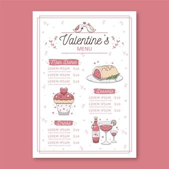 Conceito de menu de restaurante de dia dos namorados