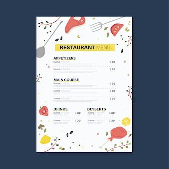 Conceito de menu de restaurante