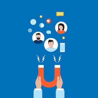 Conceito de mercado alvo, atraindo clientes, retenção de clientes plana