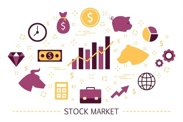 Conceito de mercado de ações. estratégia de touro e urso. financeiro