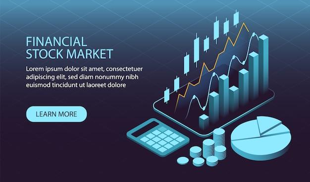 Conceito de mercado de ações financeira isométrica