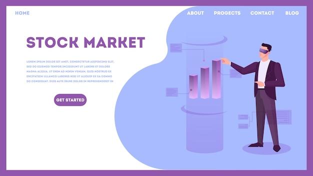 Conceito de mercado de ações. ideia de investimento financeiro