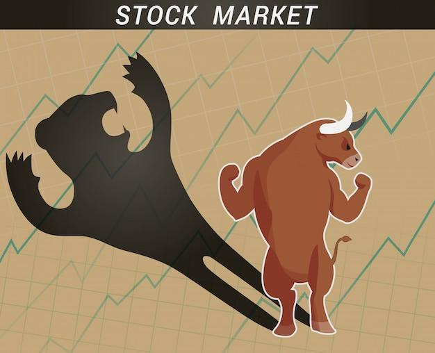 Conceito de mercado de ações touro e urso