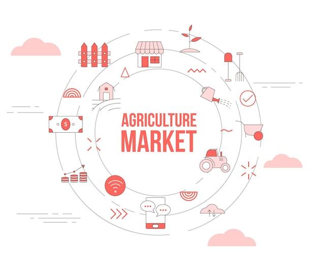 Conceito de mercado de agricultura com conjunto de ícones de banner de modelo e ilustração em vetor círculo forma redonda