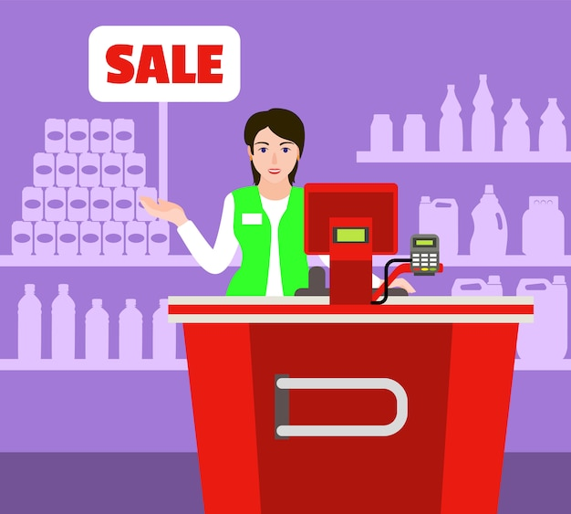 Conceito de mercado de caixa de venda