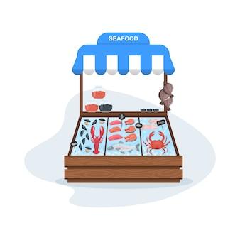 Conceito de mercado de peixes. frutos do mar no gelo. salmão e atum