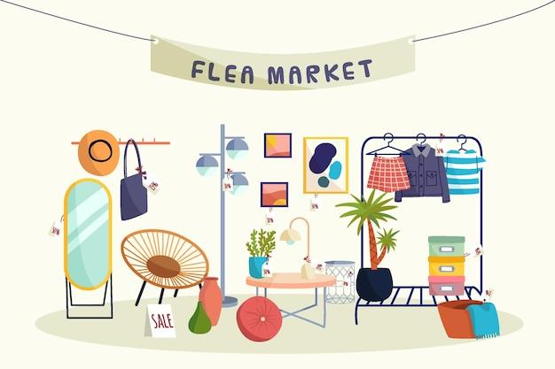 Conceito de mercado de pulgas desenhado à mão plana
