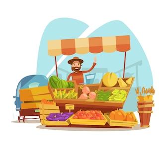 Conceito de mercado dos desenhos animados com agricultor vendendo legumes e ilustração vetorial de frutas