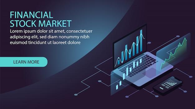 Conceito de mercado financeiro de ações isométrica