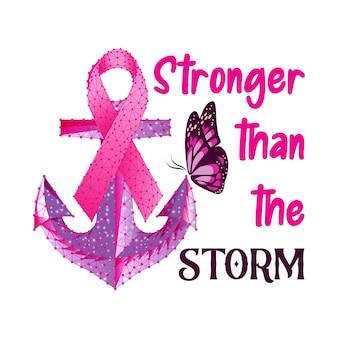 Conceito de mês de conscientização do câncer de mama com borboleta âncora de fita rosa e texto mais forte do que o ...