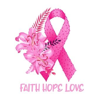 Conceito de mês de conscientização do câncer de mama com lindas flores de lírio fita rosa e texto fé, esperança, amor