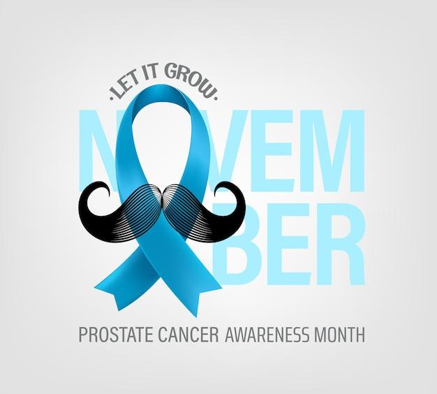 Conceito de mês de conscientização do câncer de próstata com fita de seda azul claro e bigode