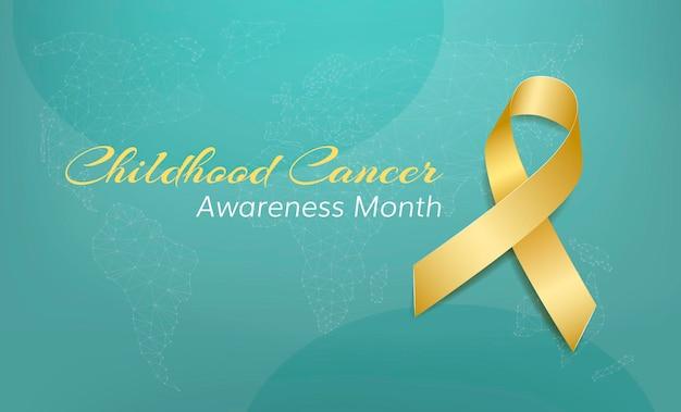Conceito de mês de conscientização do câncer infantil. banner com texto e consciência de fita de ouro.