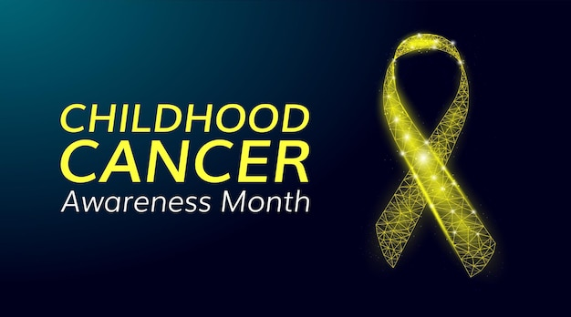 Conceito de mês de conscientização do câncer infantil. modelo de banner com fita amarela poli baixa brilhante. ilustração vetorial.