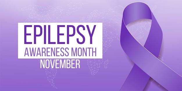 Conceito de mês de conscientização sobre epilepsia. modelo de banner com fita roxa e texto. ilustração vetorial.